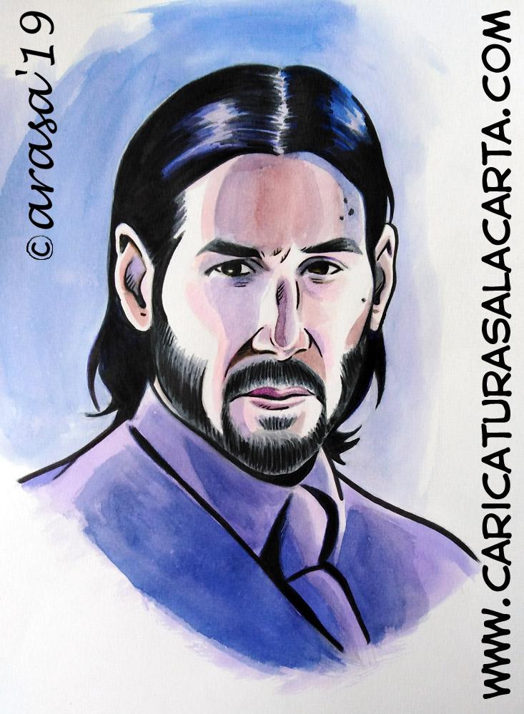 Retrato/ilustración del actor Keanu Reeves como John Wick