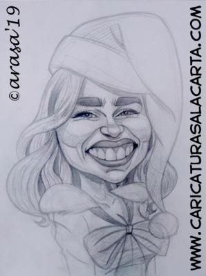 """Boceto a lápiz de la futura caricatura rápida de la actriz Emilia Clarke, protagonista de la película """"Last Christmas"""""""