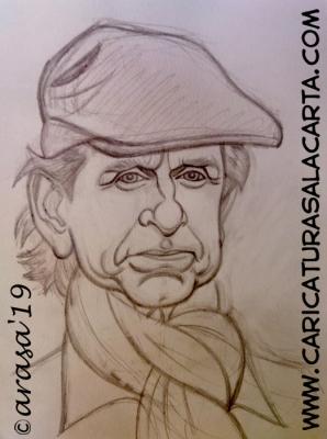 """Boceto a lápiz de la futura caricatura rápida del actor Michael Douglas, protagonista de la serie de televisión """"El método Kominsky"""""""