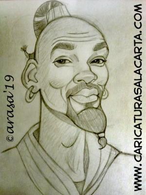 """Boceto a lápiz de la futura caricatura rápida del actor Will Smith, protagonista de la película de Disney """"Aladdin"""""""