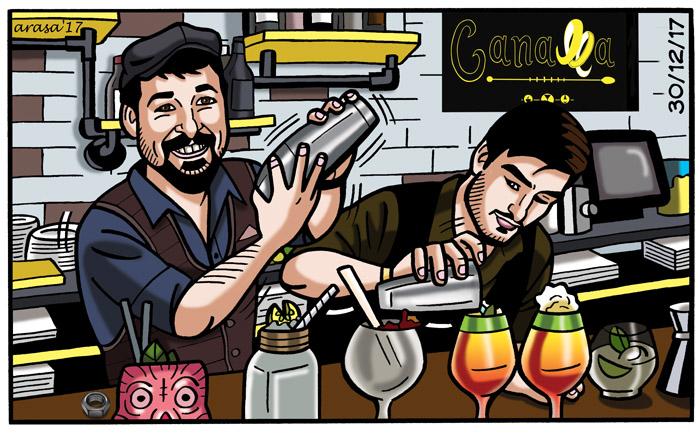 Caricaturas personalizadas digitales en formato viñeta de cómic para celebración bar