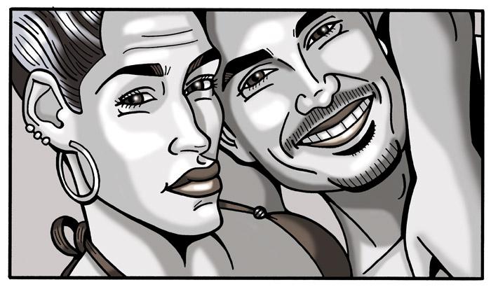 Caricaturas personalizadas digitales en formato viñeta de cómic para póster