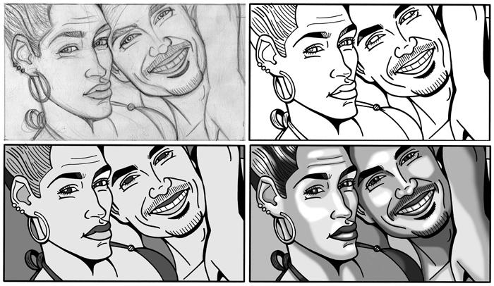 Caricaturas personalizadas digitales en formato viñeta de cómic montaje para póster