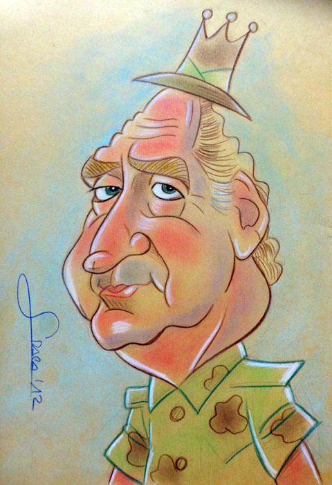 Caricaturas de famosos: El Rey Juan Carlos en Botswana