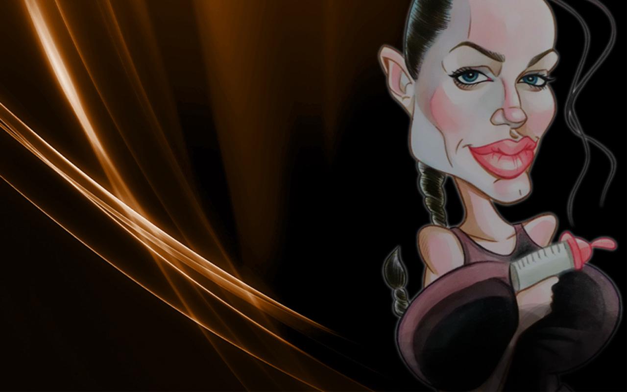 Wallpapers con caricaturas de famosos: Angelina Jolie