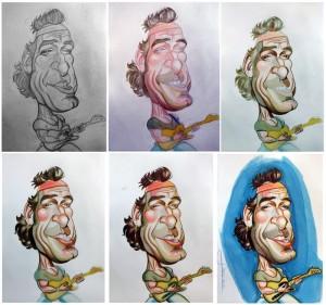 bruceproceso 300x281 Caricaturas de famosos: Bruce Springsteen