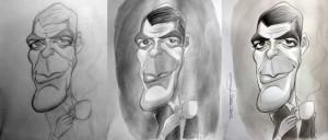 George Clooney, proceso de caricatura
