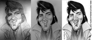 Montaje de la creación de la caricatura de Elvis Presley en su madurez
