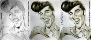 Montaje caricatura de Elvis Presley