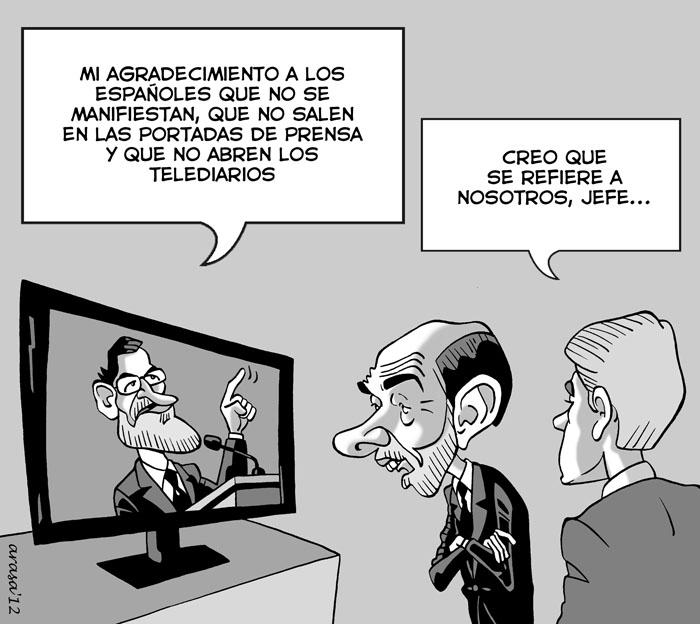 Humor gráfico, chistes de política con caricaturas sobre Rajoy, Rubalcaba y el 25-S