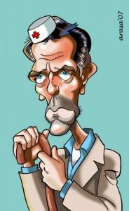 Caricaturas de famosos: Hugh Laurie, House (digital)