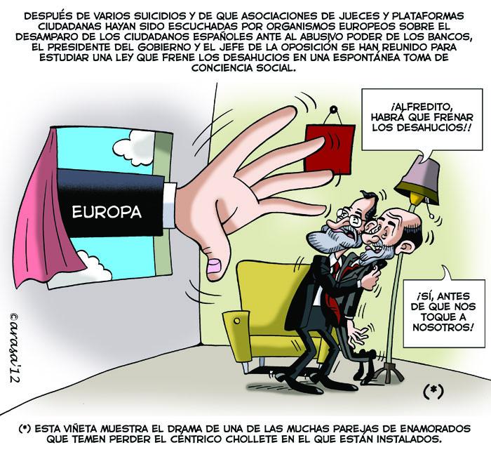 Chiste de humor grafico sobre Rajoy, Rubalcaba, la banca española y los desahucios