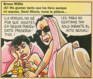 """Caricaturas de famosos: Bruce Willis y Demi Moore digital para la revista de Ediciones B, """"El Chou"""""""