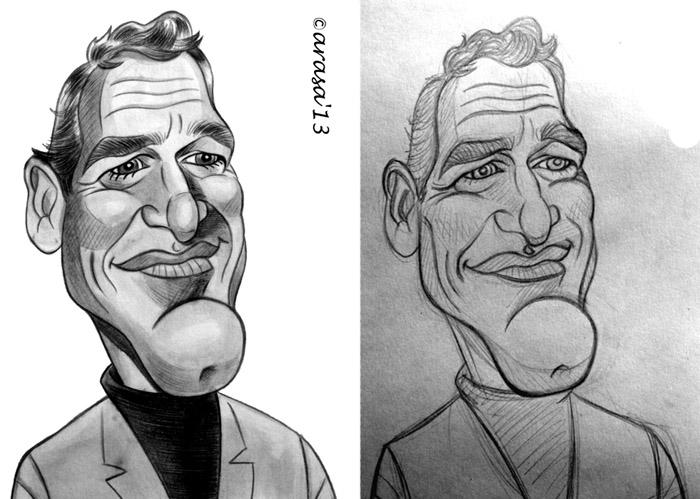 Caricatura en proceso de Paul Newman