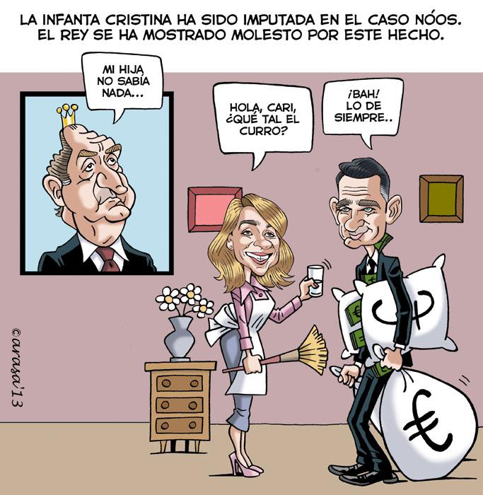 La infanta Cristina Imputada, humor gráfico con Urdangarin