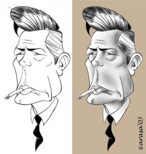 Caricatura digital de Marcello Mastroianni