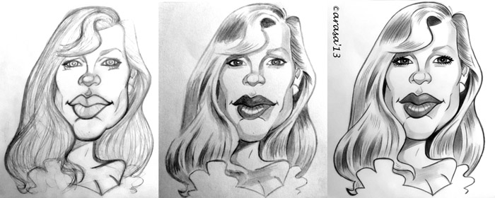 Caricatura de Kim Basinger en proceso