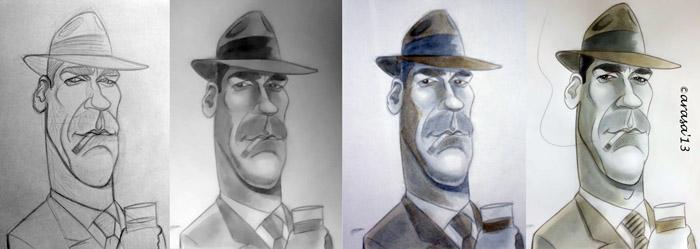 Caricatura de Jon Hamm, protagonista de Mad Men en proceso