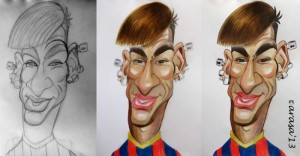 Jugador de fútbol Neymar, proceso caricatura