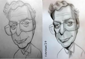 Caricatura de Michael Caine, proceso