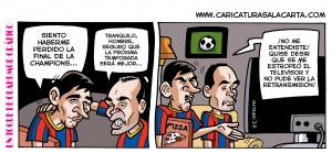 Caricaturas futbolistas Messi e Iniesta