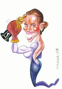Caricatur de Hilary Swank