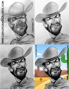 Caricaturas de famosos: Clint Eastwood en 4 fases
