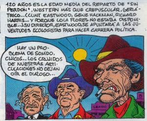Caricaturas de famosos: Clint Eastwood en Mortadelo