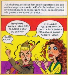 Caricaturas de famosos: Kiefer Sutherland y Julia Roberts (digital)