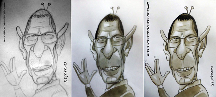Caricatura de Leonard Spock Nimoy en proceso