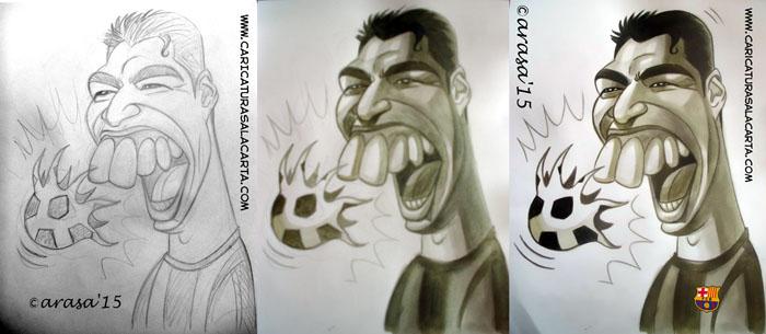 Proceso de la caricatura del futbolista Luis Suarez
