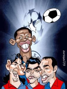 Caricaturas de famosos futbolistas: Leo Messi y Barça (digital)