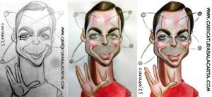 Proceso de creación de la caricatura de Jim Parsosns, Sheldon Cooper en The Big Bang Theory