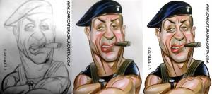 Caricaturas de famosos: Sylvester Stallone, proceso