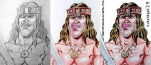 Proceso de creación en 3 fases de la caricatura rápida de Conan