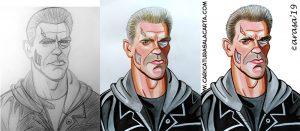 Proceso de creación de la caricatura de Terminator en 3 fases