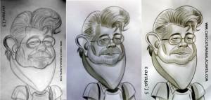 Caricatura de George Lucas. Proceso