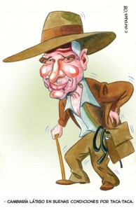 Caricatura de Harrison Ford como Indiana Jones