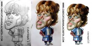 """Caricaturas de famosos: Peter Dinklage, Tyrion en """"Juego de tronos"""" (proceso)"""