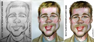 Caricaturas de famosos: Brad Pitt (proceso)