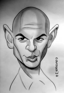 Caricatura de Yul Brynner en blanco y negro