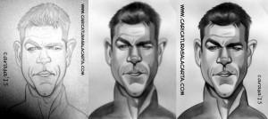 Caricaturas de famosos en balnco y negro: Matt Damon como Jason Bourne, proceso de creación