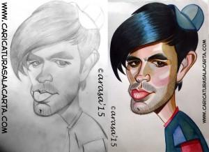 Proceso de creación de la caricatura rápida de Enrique Iglesias