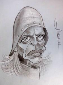 Caricatura de Klaus Kinski en blanco y negro