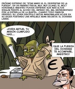 Humor gráfico con caricaturas sobre Jordi Pujol, Artur Mas y los dossiers