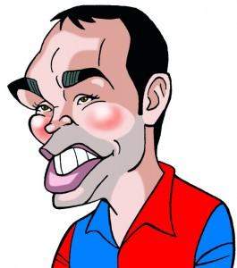 Caricaturas de famosos futbolistas. Andrés Iniesta (Digital)