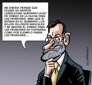 Caricaturas para humor gráfico. Rajoy, la hucha de las pensiones y los pactos