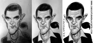 Caricaturas de famosos: Antonio Banderas (proceso)