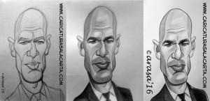 Caricaturas de famosos: proceso de creación de la caricatura de Zinedine Zidane