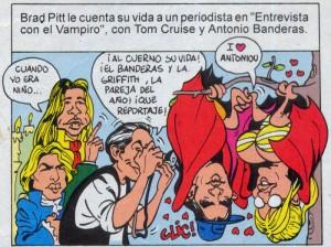 """Caricaturas digitales de famosos: Cruise, Banderas y Pitt para """"Mortadelo"""""""